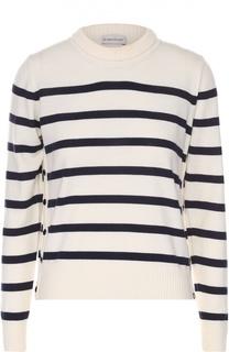 Шерстяной пуловер в полоску с круглым вырезом Moncler
