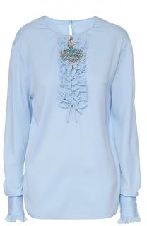 Шелковая блуза с круглым вырезом и жабо Dolce & Gabbana