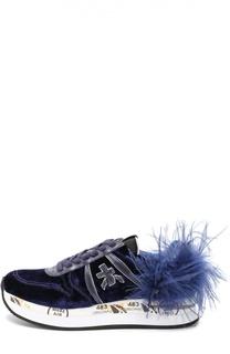 Текстильные кроссовки Holly с отделкой из кожи и перьев Premiata