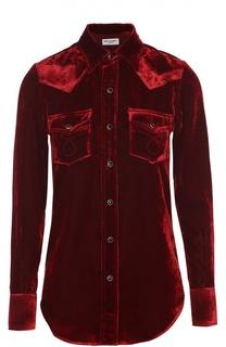 Бархатная блуза прямого кроя с накладными карманами Saint Laurent