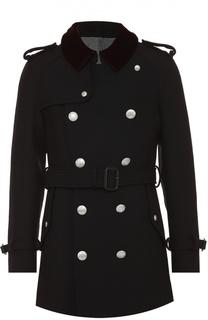 Шерстяное двубортное пальто с контрастным воротником Alexander McQueen