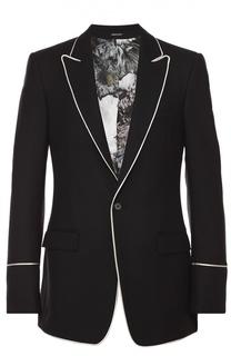 Шерстяной однобортный пиджак с контрастным кантом Alexander McQueen