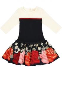 Платье на низкой талии со вставкой из велюра и юбкой из тафты Monnalisa