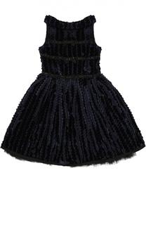 Платье из велюра со стразами Monnalisa