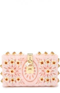 Клатч Dolce Box с отделкой кристаллами и резьбой Dolce & Gabbana