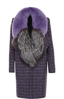 Буклированное пальто прямого кроя с меховой отделкой воротника Michael Kors