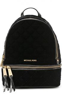 Рюкзак Small Rhea Zip из бархата с прострочкой Michael Michael Kors