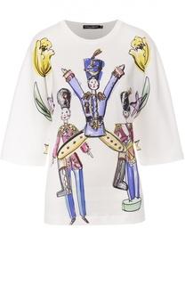 Футболка прямого кроя с удлиненным рукавом и ярким принтом Dolce & Gabbana