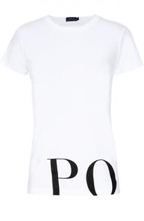 Хлопковая футболка с контрастной надписью Polo Ralph Lauren