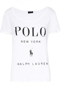 Футболка свободного кроя с разрезами и контрастной надписью Polo Ralph Lauren