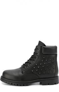 Высокие кожаные ботинки Rockstud Valentino