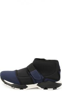 Высокие текстильные кроссовки с застежкой велькро Marni