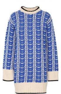 Удлиненный свитер с ярким принтом и контрастной отделкой Marni