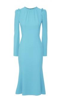 Приталенное платье с рукавом-фонарик и оборками Dolce & Gabbana