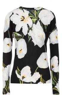 Кашемировый пуловер с круглым вырезом и цветочным принтом Dolce & Gabbana