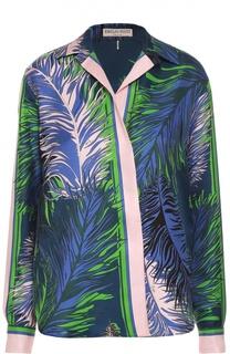 Шелковая блуза прямого кроя с ярким принтом Emilio Pucci