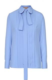 Шелковая блуза с планкой и воротником-аскот Michael Kors