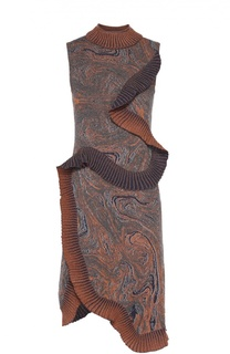 Вязаное платье асимметричного кроя с оборками Lanvin