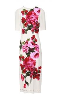 Приталенное платье с коротким рукавом и цветочным принтом Dolce & Gabbana