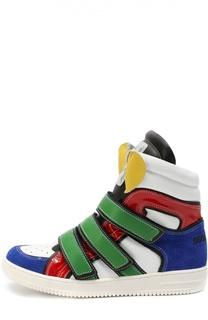 Высокие кожаные кроссовки с застежками велькро Dsquared2