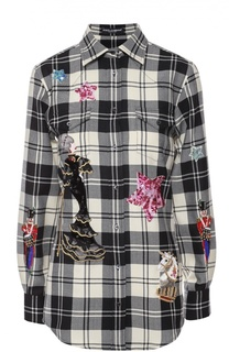 Блуза в клетку с контрастной вышивкой Dolce & Gabbana