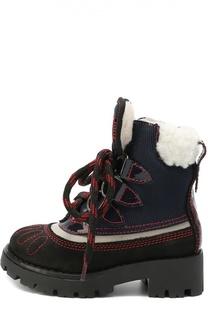Комбинированные ботинки с  внутренней отделкой из натуральной овчины Dsquared2