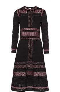Приталенное платье с длинным рукавом и контрастной отделкой M Missoni