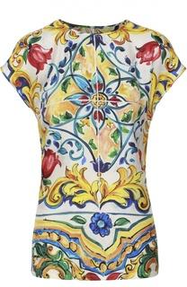 Шелковый топ со спущенным рукавом и ярким принтом Dolce & Gabbana