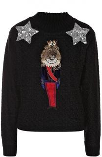 Пуловер фактурной вязки с яркой вышивкой Dolce & Gabbana