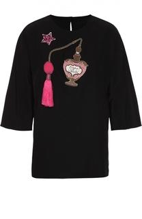 Шелковый топ с удлиненным рукавом и вышивкой Dolce & Gabbana