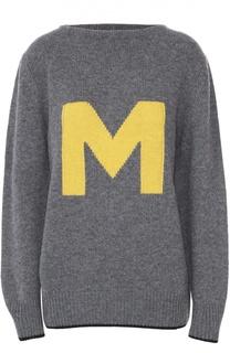 Удлиненный пуловер свободного кроя с контрастной надписью Marni
