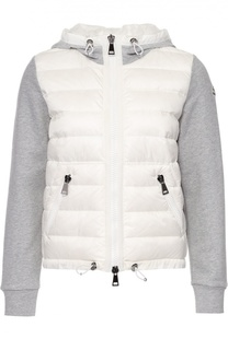 Куртка асимметричного кроя с пуховой вставкой и капюшоном Moncler