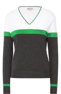 Пуловер прямого кроя с V-образным вырезом и контрастной отделкой Emilio Pucci
