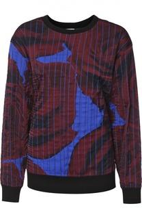 Шелковый свитшот свободного кроя с круглым вырезом DKNY