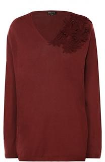 Удлиненный пуловер с V-образным вырезом и кружевной отделкой Escada
