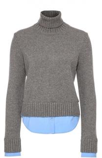 Укороченный свитер и высоким горлом и хлопковыми вставками Michael Kors
