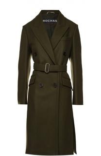 Двубортное шерстяное пальто с поясом Rochas