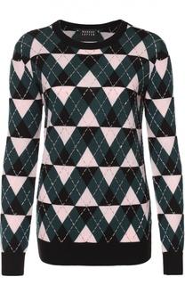 Пуловер прямого кроя с геометрическим узором и вышивкой Markus Lupfer