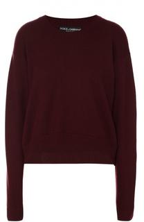 Кашемировый укороченный пуловер со спущенным рукавом Dolce & Gabbana
