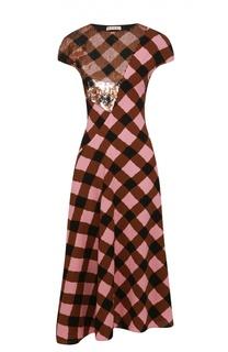 Платье асимметричного кроя в клетку с вышивкой пайетками Marni