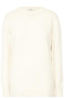 Кашемировый пуловер фактурной вязки с круглым вырезом Saint Laurent