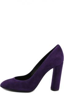 Замшевые туфли на устойчивом каблуке Casadei