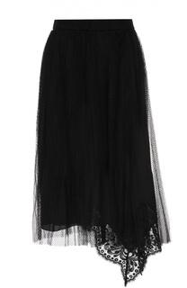 Мини-юбка асимметричного кроя с кружевной отделкой No. 21