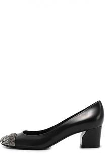 Кожаные туфли с декорированным мысом Casadei