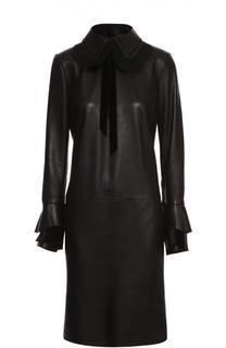 Кожаное платье с отложным воротником и кружевной отделкой Ralph Lauren