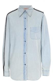 Джинсовая блуза с накладным карманом и декоративной отделкой No. 21