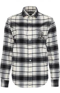 Блуза прямого кроя в клетку с декоративной отделкой Polo Ralph Lauren