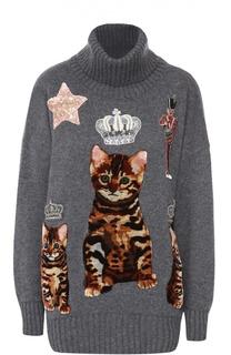 Удлиненный кашемировый свитер и декоративной отделкой Dolce & Gabbana