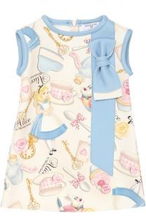 Платье прямого кроя с ярким принтом Monnalisa