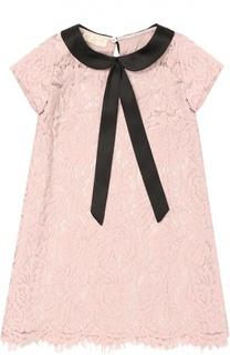 Кружевное платье А-силуэта Monnalisa